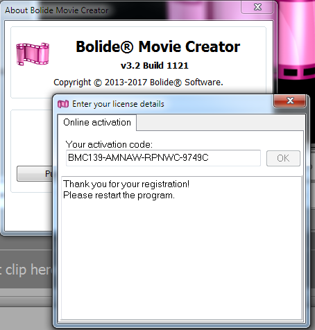 Bolide Movie Creator activation code