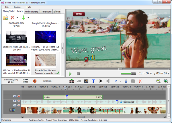 Screenshot of Bolide Movie Creator 3.7