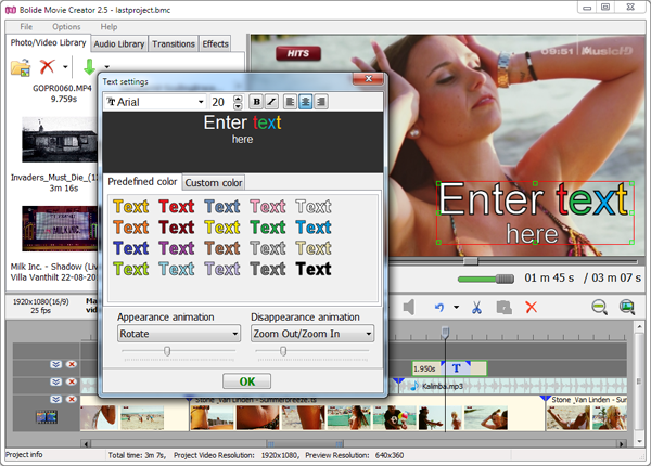 adding a text block over the video clip using Bolide Movie Creator