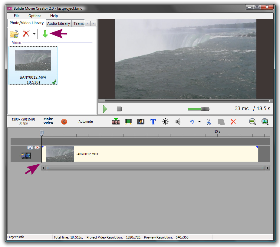 Add Photo/Video to Project Library | Bolide Movie Creator