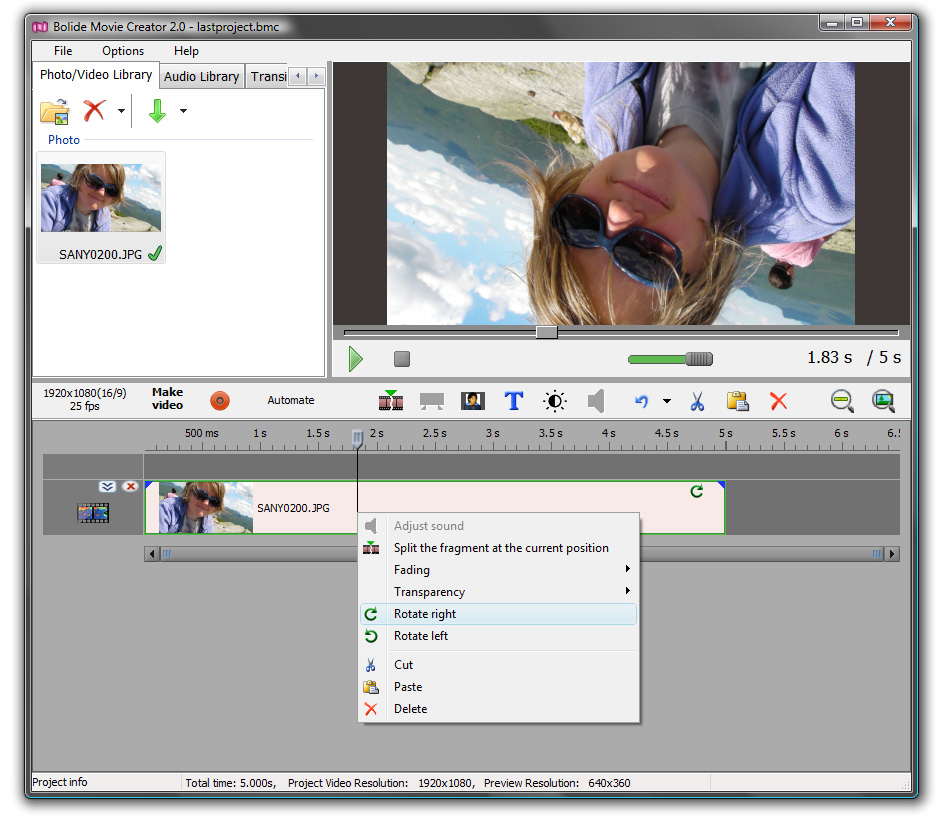 How to rotate video clip bolide movie creator rotate video in bolide movie creator ccuart Images
